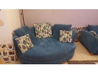 Teal cuddler and corner sofa