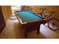 Pool table with folding legs, incl balls. 6ft by 3ft4