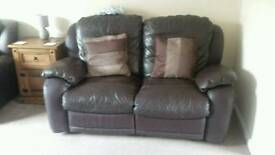 Two leather 3 seater sofas