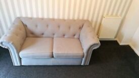 Grey dfs chesterfield two seater and chair