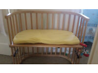 Co-sleeper, natural beech, cot, side by side
