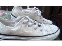 white shiny converse