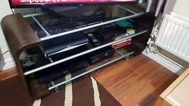 3 glass shelf tv stand brown