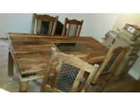 Solid wood table and chairs / sheesham / cast iron / glass