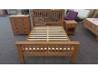 Julian Bowen Amsterdam Solid Oak King Size Bed High Foot End Can Deliver