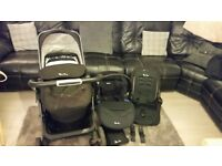 SILVER CROSS PIONEER PRAM AND PUSHCHAIR - BLACK & CAR SEAT AND ISOFIX BASE