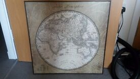 Canvas Print of a World Map in Pale Green for your Living Room