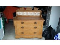 Antique (Victorian) pine chest of drawers with art nouveau tiles