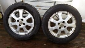 Set of 2 Allow wheel & Tyre Vauxhall Astra 195/65 R15. Good Condition