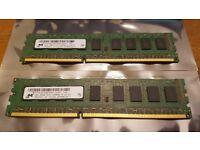Micron HP 4GB (2x2GB) DDR3 ECC Unbuffered Server RAM / Memory 1333MHz