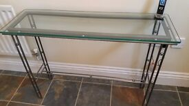 Glass top metal console table