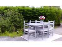 Large, Vintage Extending Dining Table & 6 Chairs. Paris Grey, Shabby Chic. Delivery Available.
