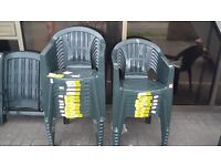 GREEN PLASTIC STACKABLE GARDEN/PATIO CHAIRS CAN DELIVER