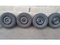175 65 13 4 x tyres + 4 x steel wheels PCD 4 x 100 Seat ,VW,AUDI,...