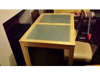 Pine table with frosted glass top