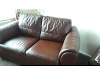 2 seater leather sofa chocolate brown excellent condition