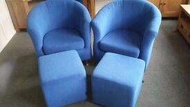 New 2 tub chairs with 2 footstools