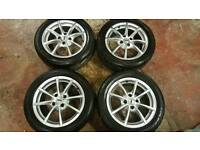"Tsw 15"" alloys. Nearly new tyres 4x100"