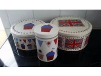 3 Lovely vintage look bunting, cup cake and flag red white and blue storage tins