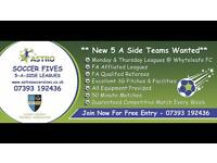 **NEW 5 A SIDE TEAMS WANTED @ WHYTELEAFE FC**