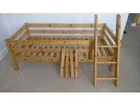 Flexa pine single bed,midi sleeper,mattress