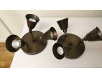 2 ceiling mounted 3 way spotlights