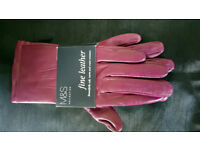 M&S Collection Soft, Warm and Water Resistant Leather Gloves