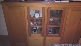 Very heavy modern solid oak Sideboard / display cabinet