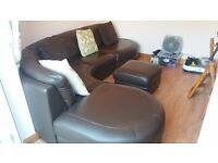 Large leather sofa in vgc