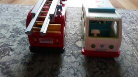 ELC wooden fire engine and ambulance