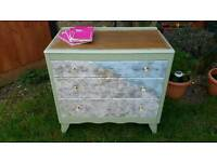 Shabby chic solid vintage oak chest of drawers