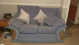 Settees, Arm Chair & Foot stool in Cornflower Blue fabric.
