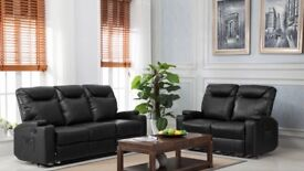 Brand new 3 seater plus 2 seater lazy boy cinema reclining sofas in black leather