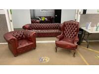 Stunning rare coil sprung leather chesterfield sofa 4 seater with wing back and club chair £2200