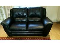 Soft black leather 3 & 2 seater sofas