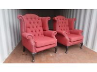 Two Matching Wing Back Terracotta Chesterfield Armchairs,Can deliver