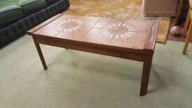 Mid Century Tiled Coffee Table With Drawer