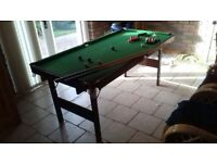 Snooker / Pool table. Ball set and 2 cues included