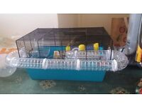 Large (58cm by 38cm) hamster home with accessories, bedding, treats etc.