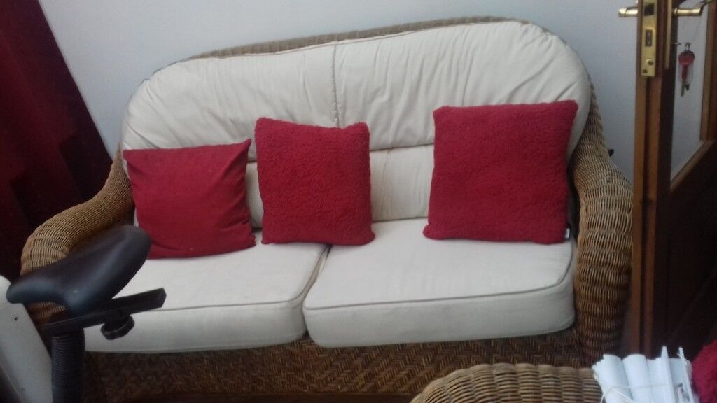 Wicker Cane Conservatory Sofa And Armchair Furniture Free Delivery In Nottingham