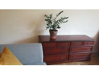 Classic Large 3x3 Chest of Drawers/Sideboard Mahogany Wood *Vintage*Retro*Brocante*Shabby Chic*Stag?