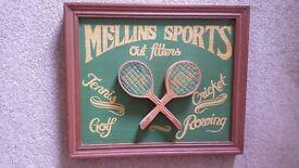 WOODEN 'MELLINS SPORTS' PICTURE Nr West Runton / Cromer