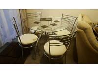 Glass & chrome 4 seater dining table