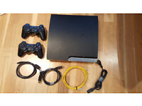 Playstation 3 (PS3) with controllers and 4 cables - Perfect Christmas Present