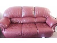 Red Leather Sofa Three Seater with a Recliner Chair and leather stool. Great condition!!! Must go!!!