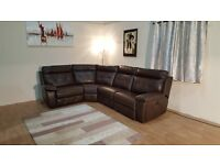 Ex-display Endurance Ashley chocolate brown leather electric recliner corner sofa