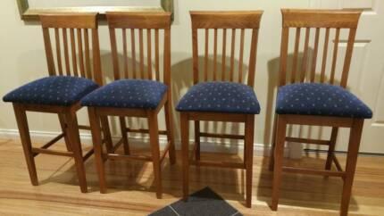 High back timber bar stools
