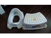 POTTY TRAINING TOILET SEAT AND TOILET STEP STOOL WINNIE THE POOH DISNEY JOB LOT. PRICED TO SELL. .