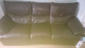 FREE! Brown leather 3 seater reclining couch/sofa
