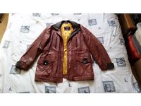 Men's Vintage brown leather jacket with golden yellow lining, size L.